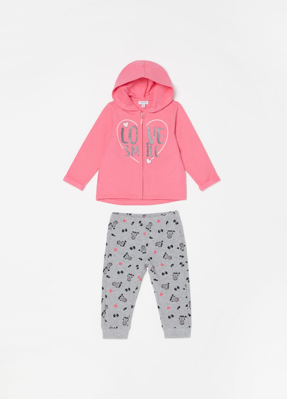 Stretch cotton jogging set with pattern