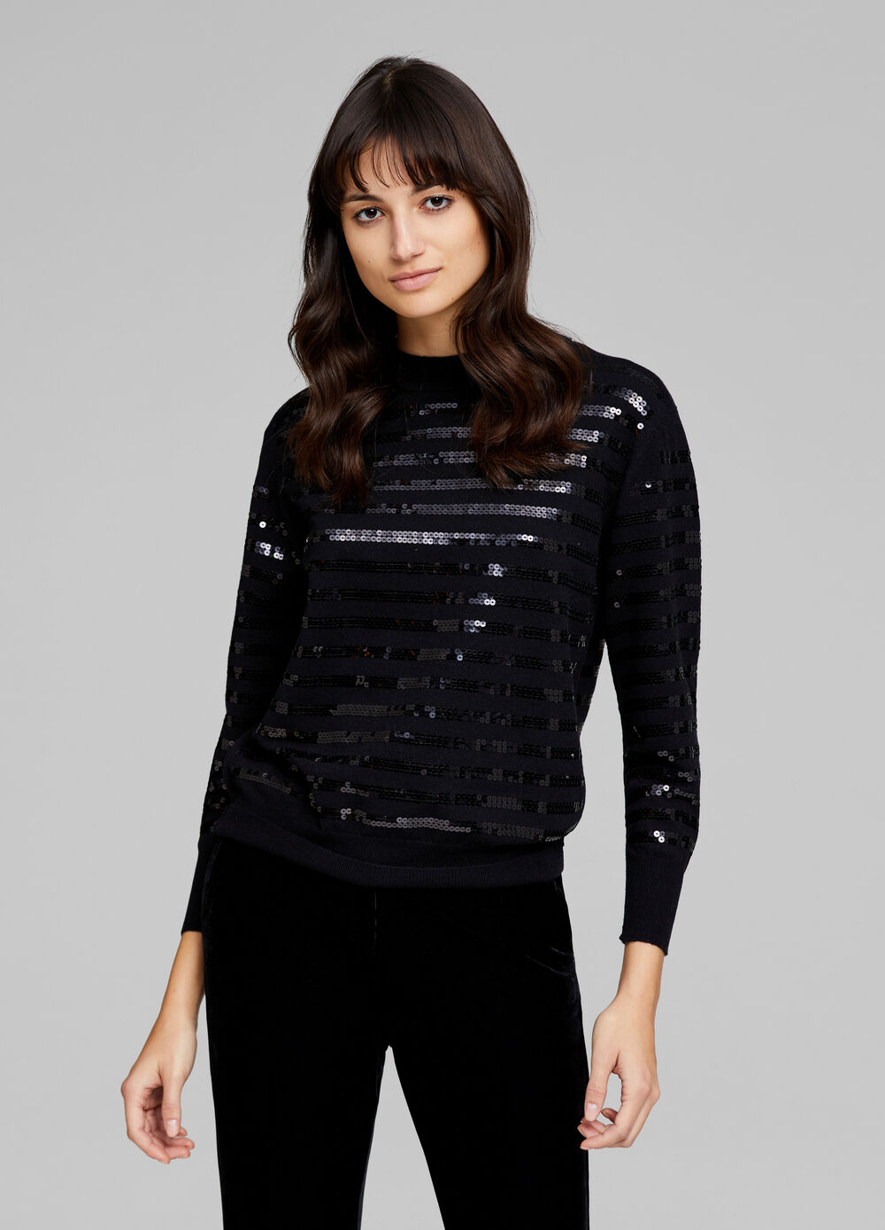 Pullover with sequin stripes