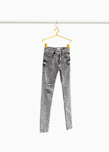 Misdyed slim-fit jeans with embroidery
