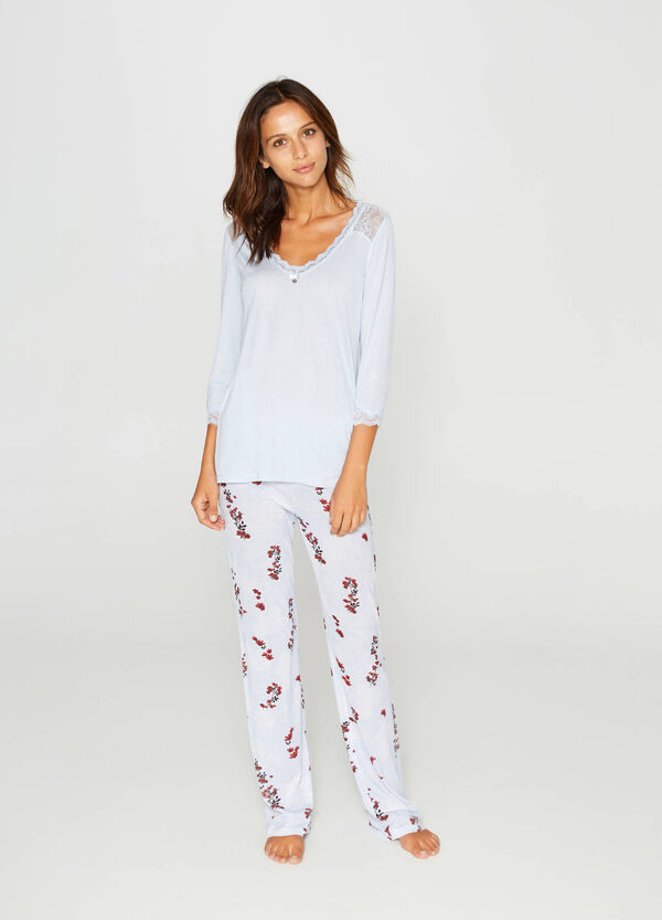 Pyjama top with lace and pendant | OVS