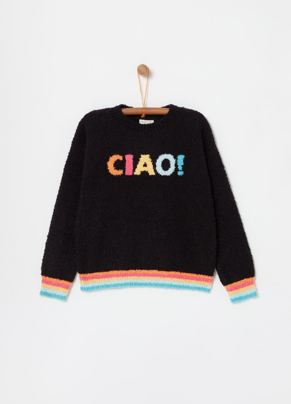 Pullover with crazy stripes embroidery