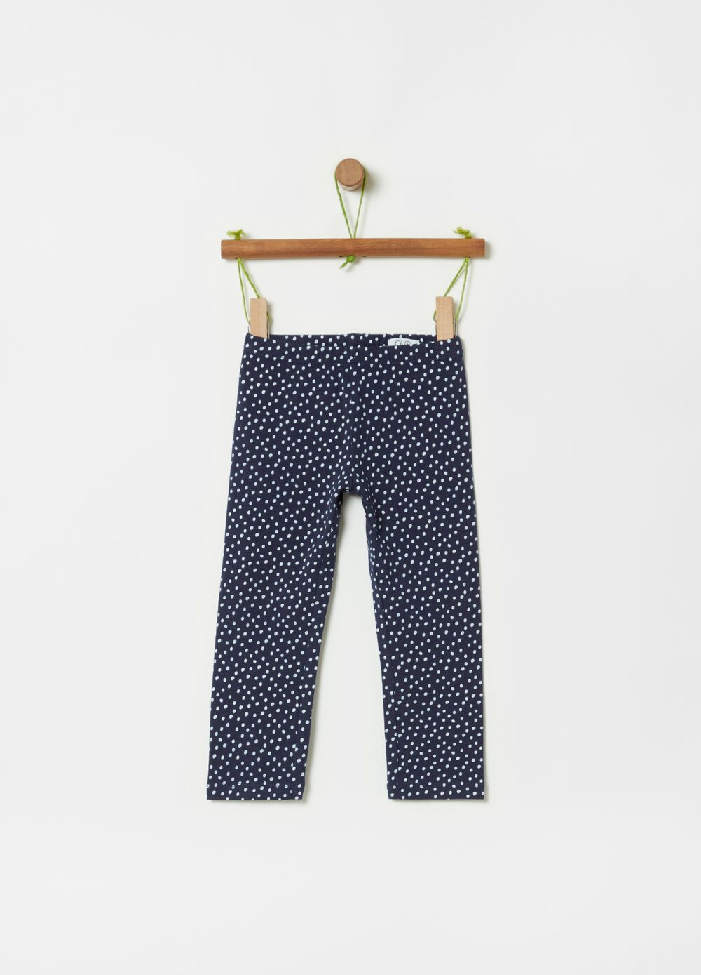 Stretch leggings with all-over polka dot print