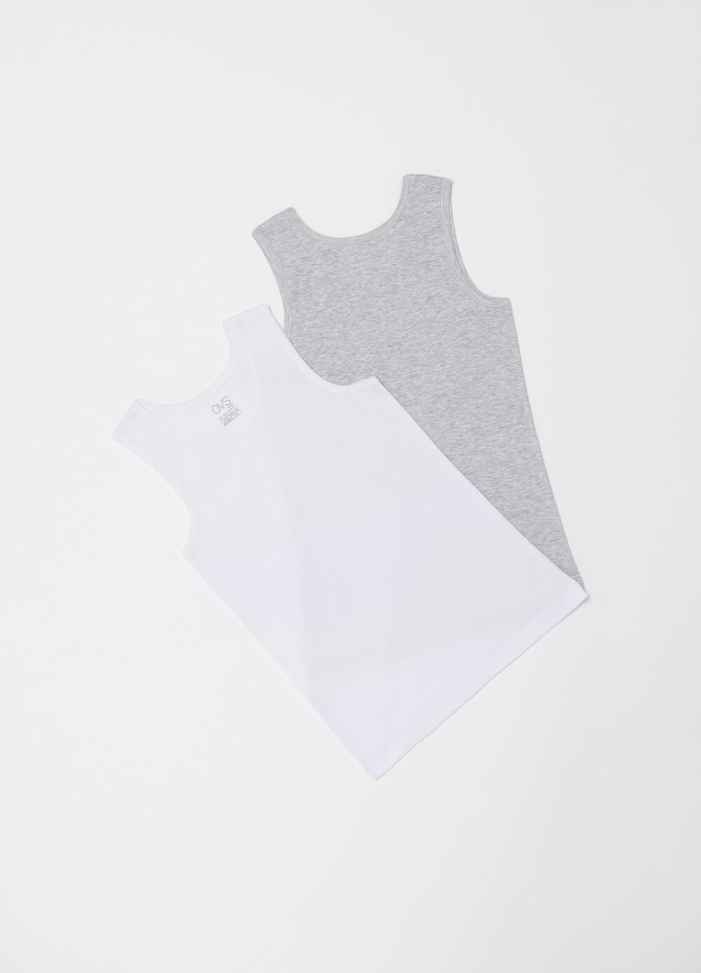 Two-pack racerback vests with ribbing