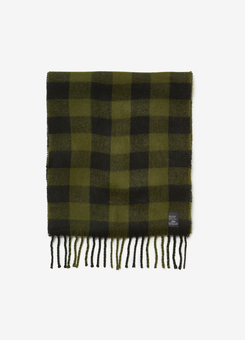 Fringed scarf with check pattern