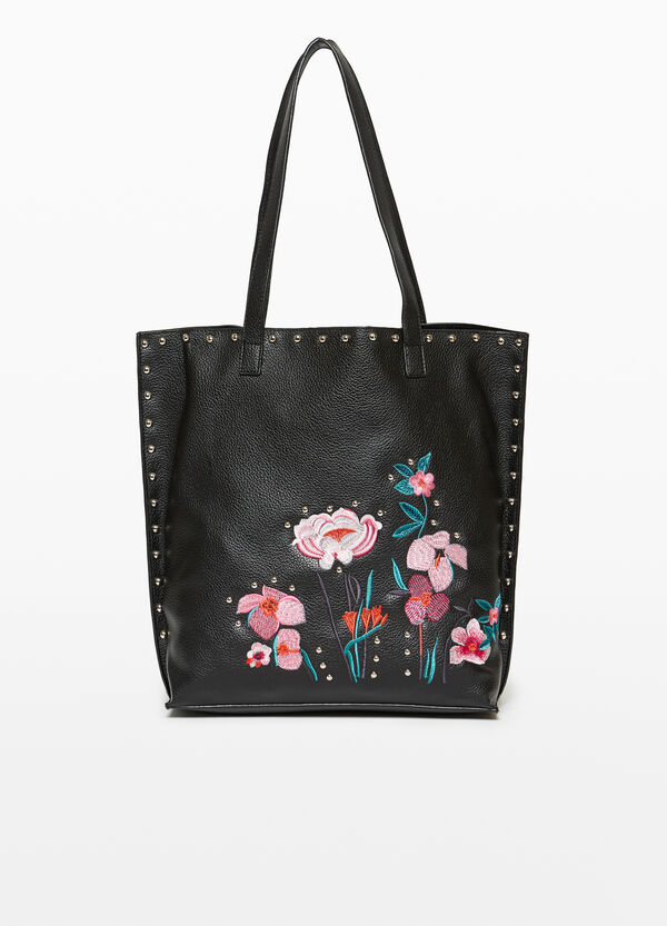 Shopping bag with floral embroidery and studs