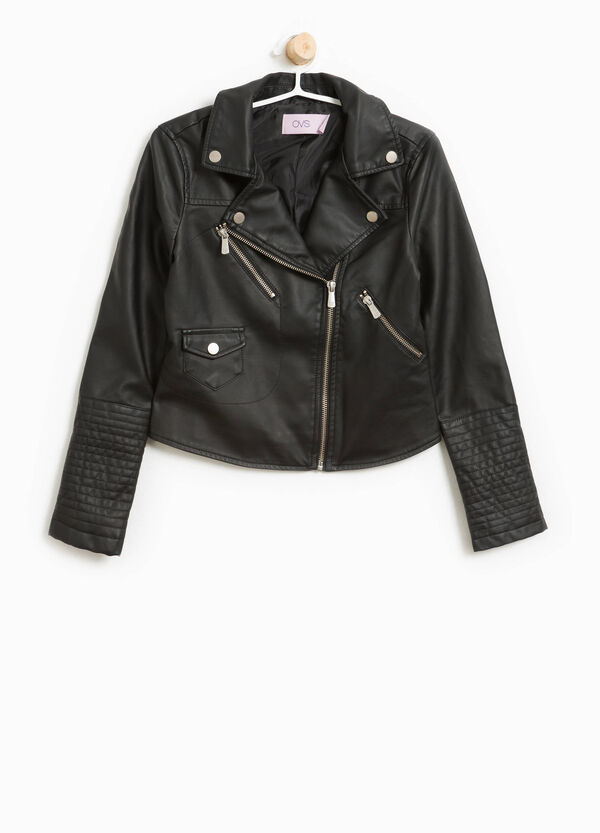 Leather-look biker jacket with lapels   OVS