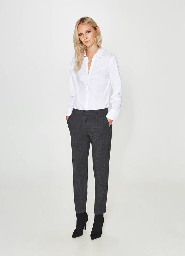 Viscose blend trousers with tartan pattern | OVS