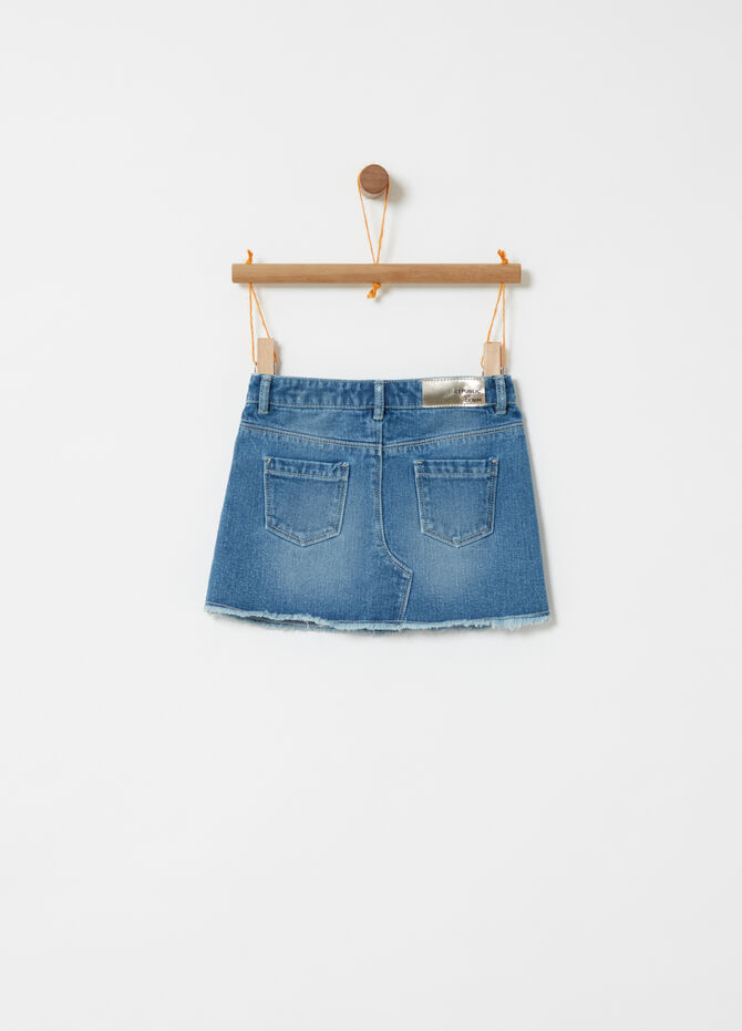 Denim skirt with fraying and floral embroidery