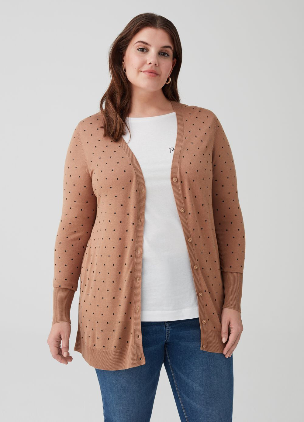 Curvy knit cardigan with ribbing and polka dots