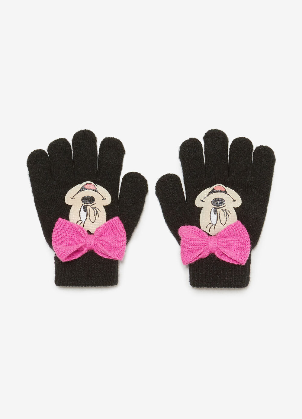 Gloves with bow and Minnie Mouse print
