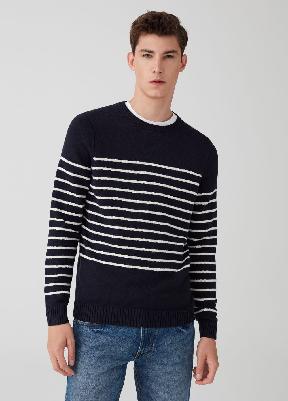 Knit pullover with striped pattern