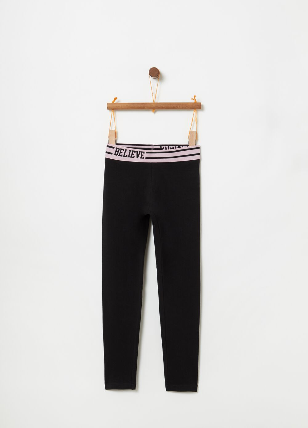 Stretch cotton leggings with print