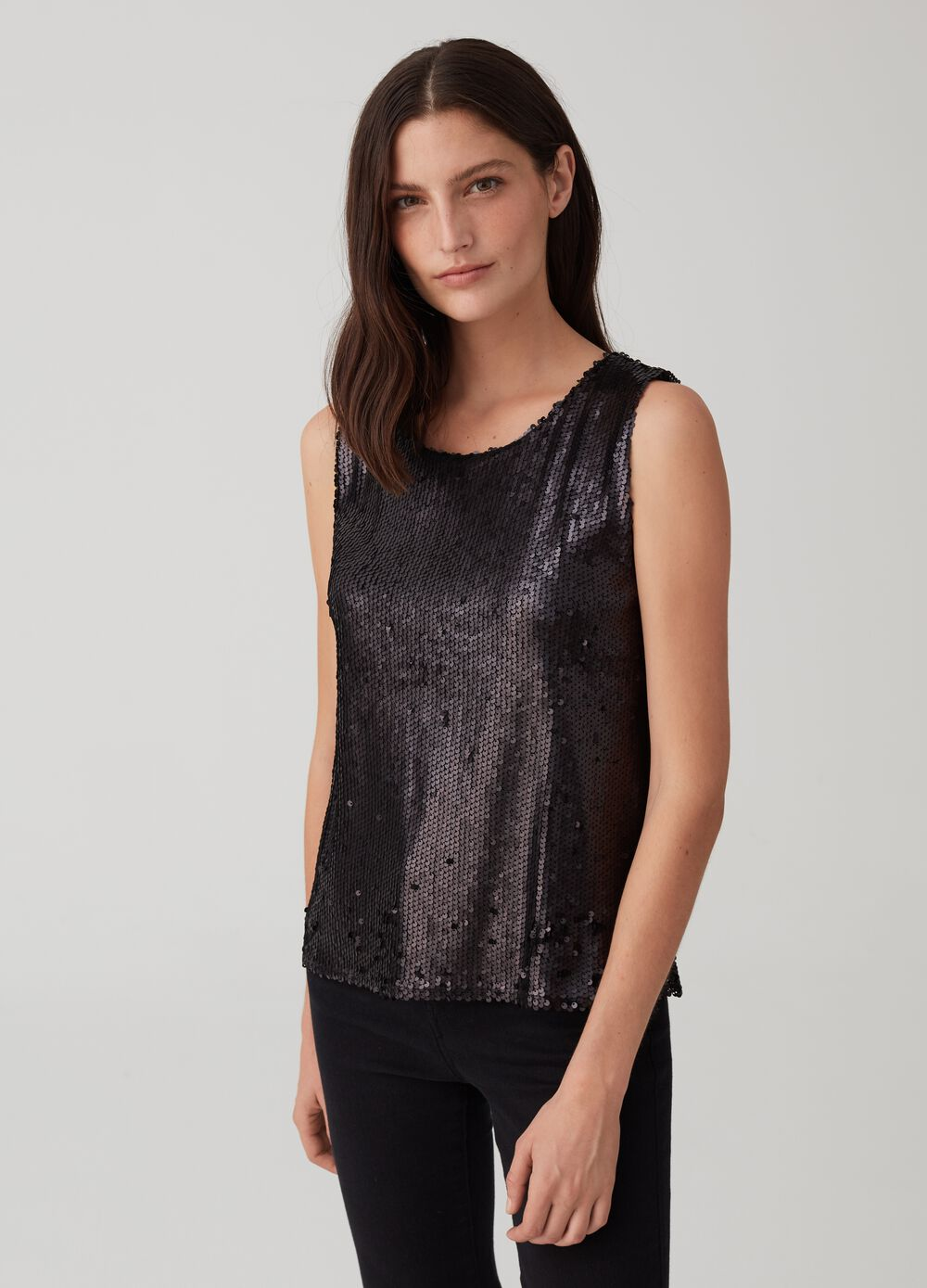 Tank top with round neckline and sequins