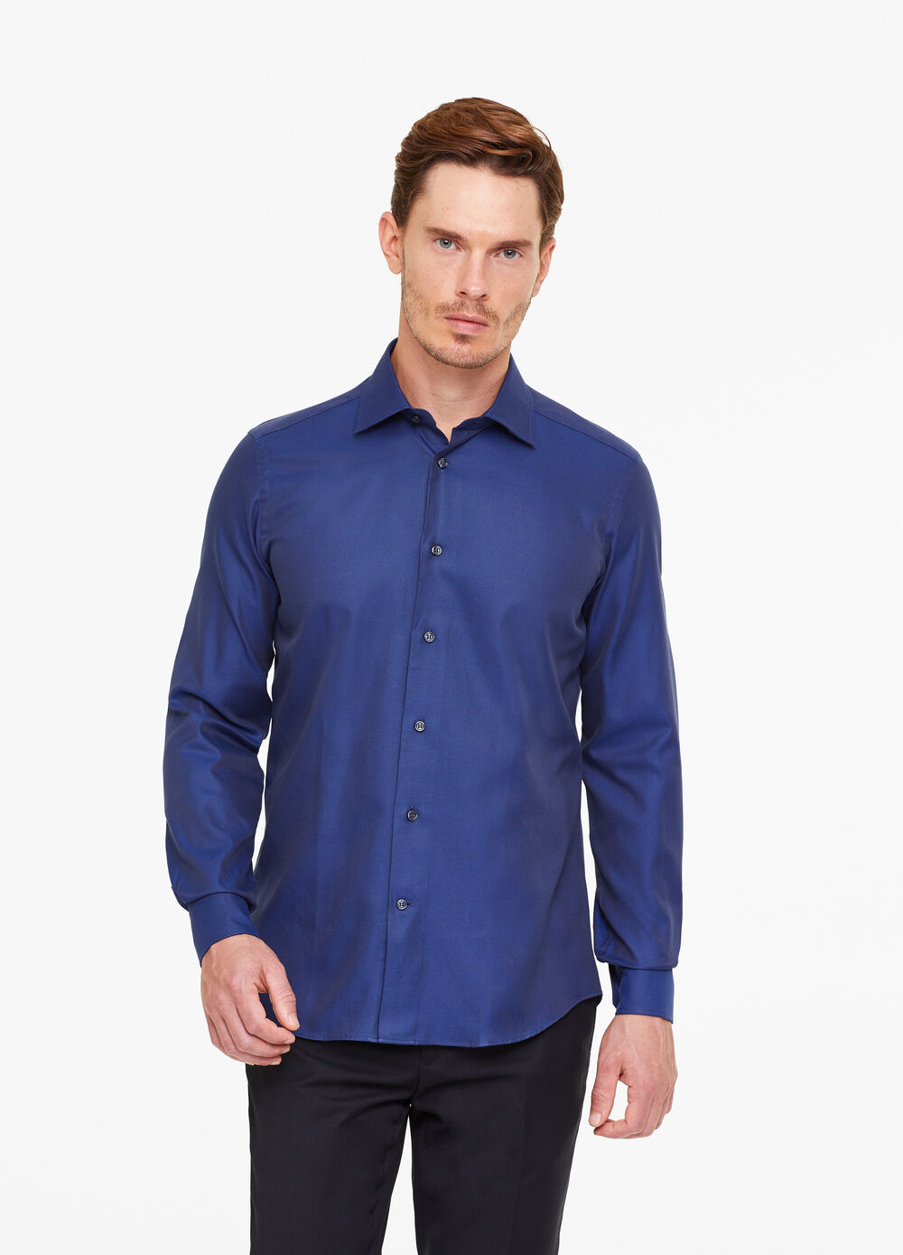 Slim-fit striped weave shirt