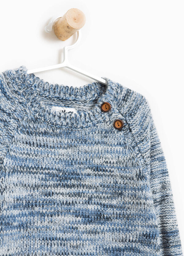 Knitted mélange pullover with buttons | OVS