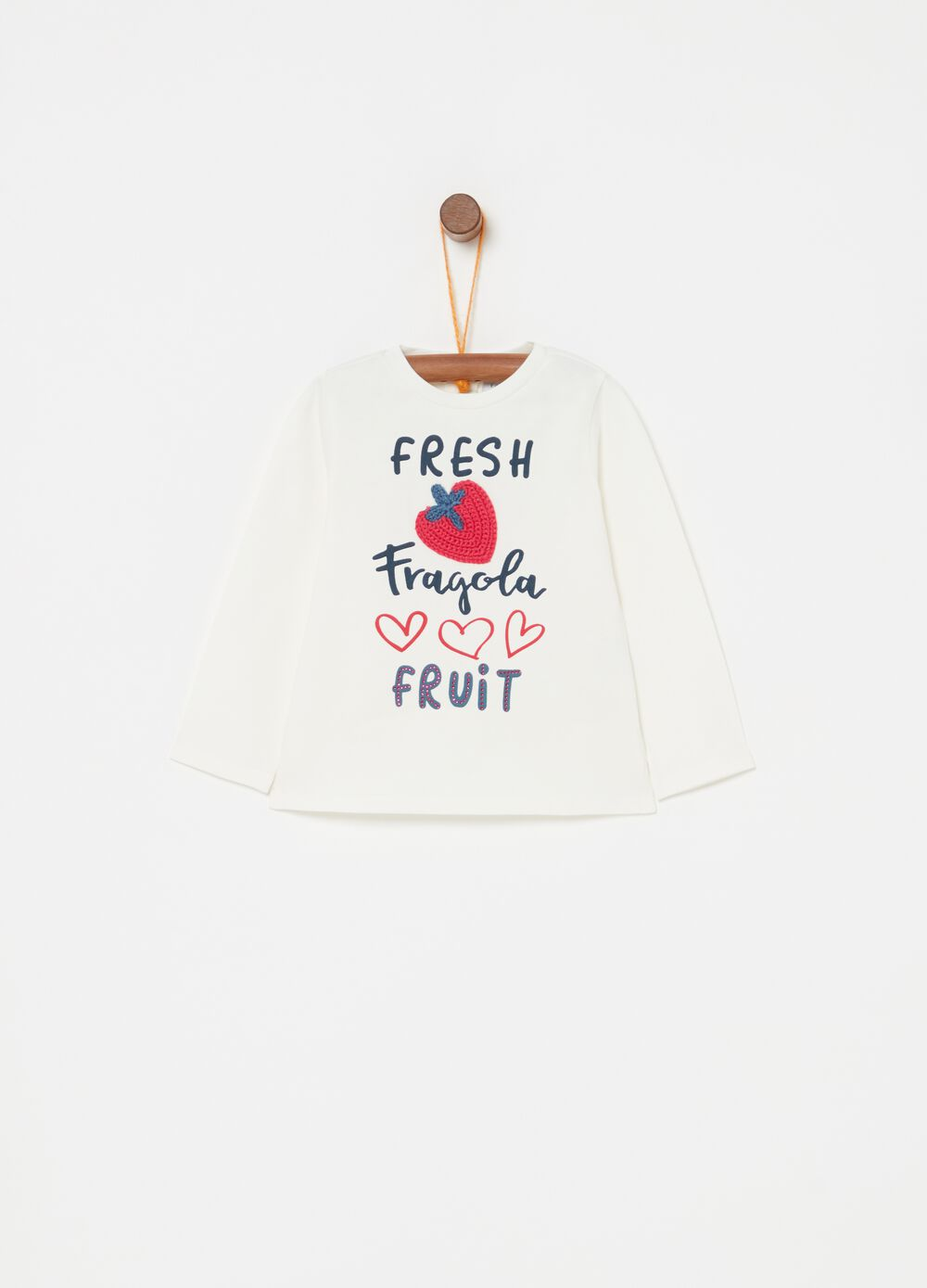 Biocotton T-shirt with embroidery, print and diamantés