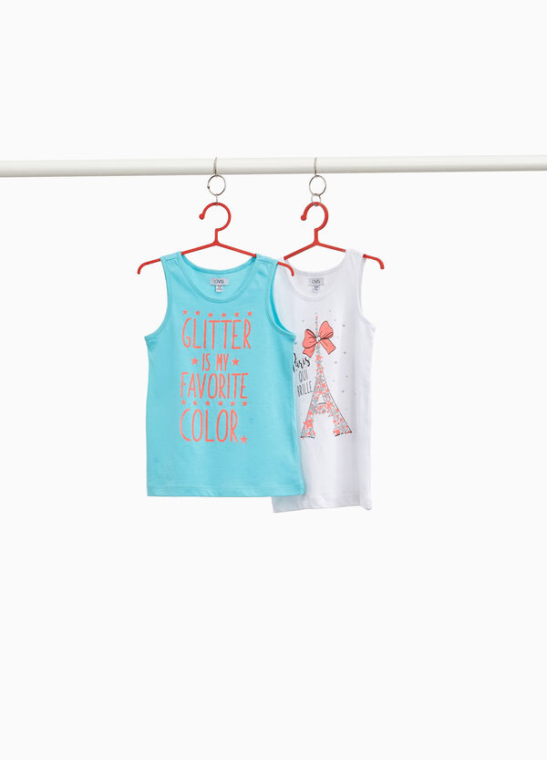 Two-pack 100% cotton tops with glitter print