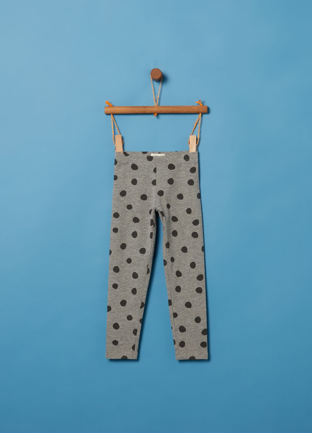 Stretch cotton and viscose leggings with polka dots
