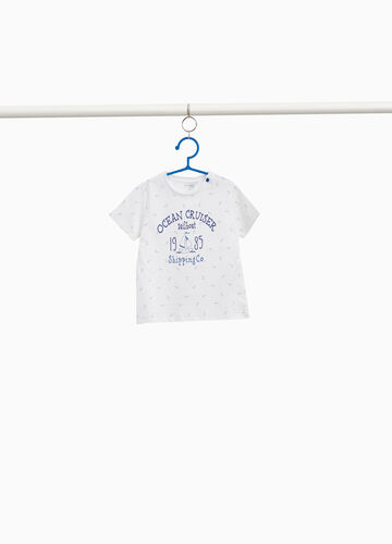 All-over anchor print cotton T-shirt