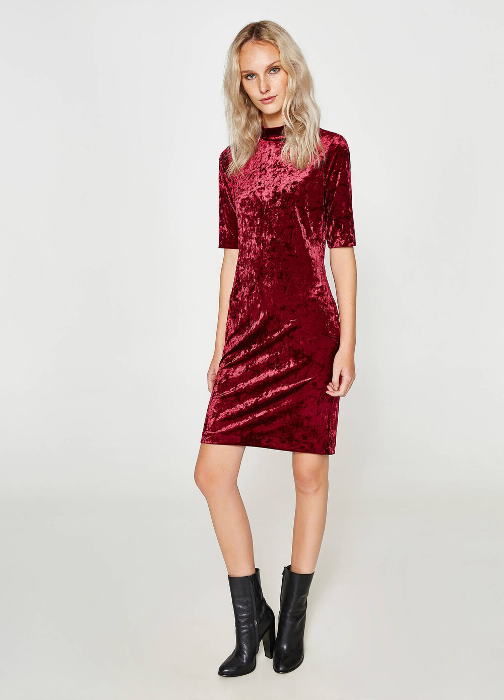 Stretch velvet tube dress