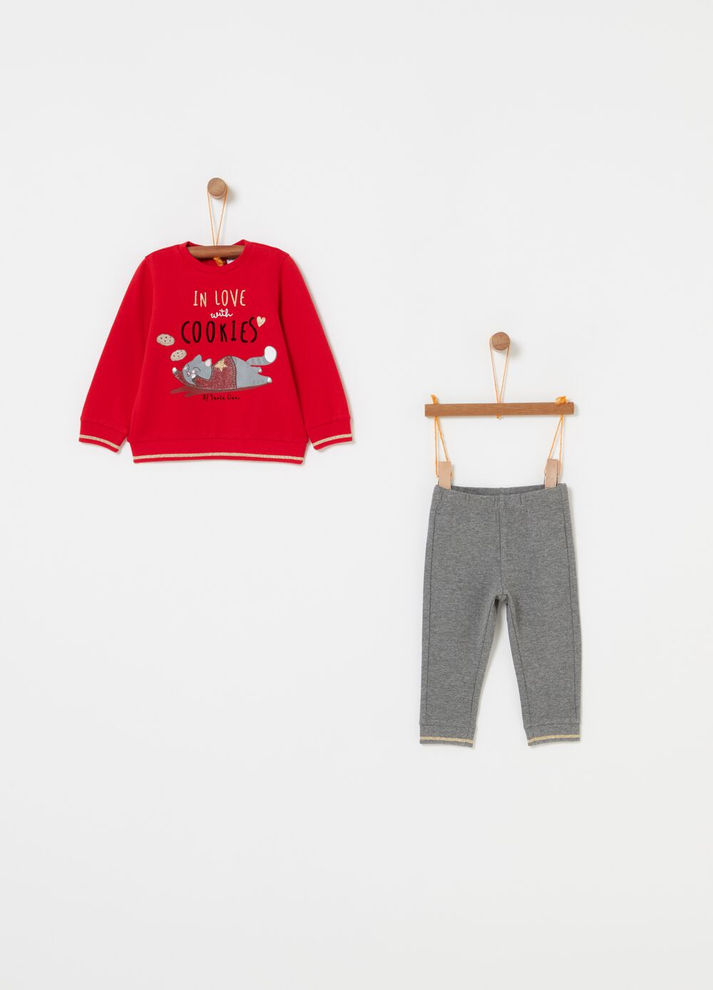 Jogging set con stampa gattino