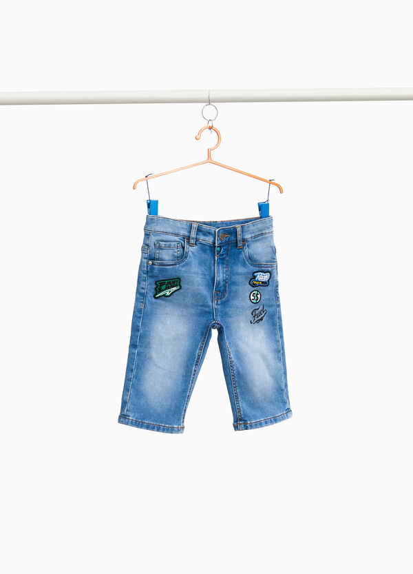 Stretch denim Bermuda shorts with patches