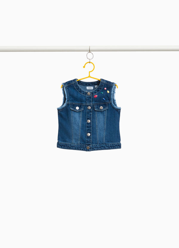 Washed-effect denim gilet with diamantés