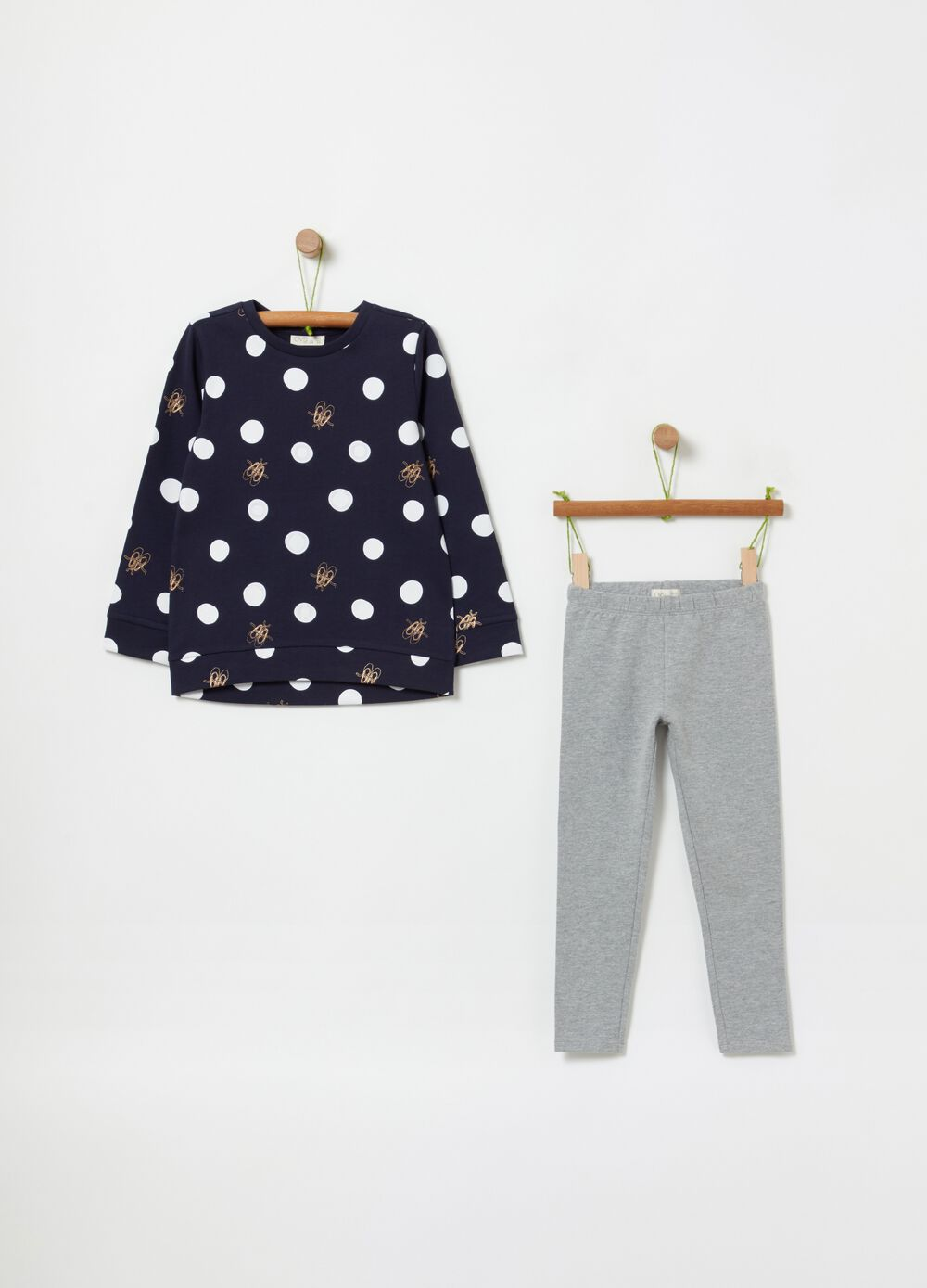 Sweatshirt and leggings jogging set with polka dots