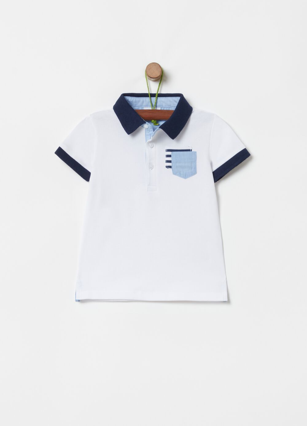 Stretch cotton polo shirt with double pocket