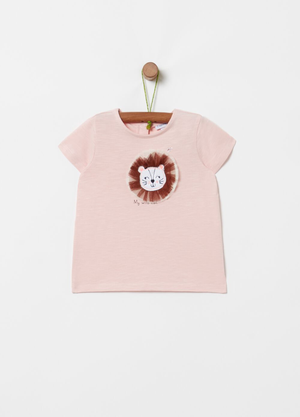 Slub jersey T-shirt with kitten embroidery
