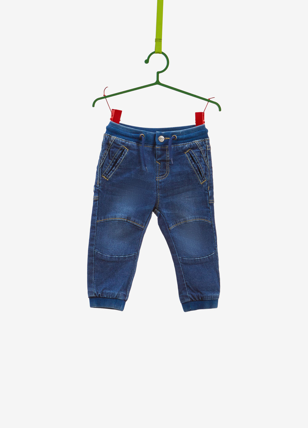 Regular-fit washed-effect stretch jeans