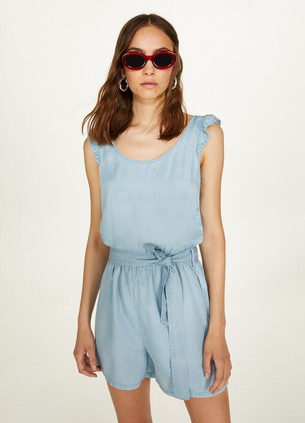 100% viscose dungarees with flounce