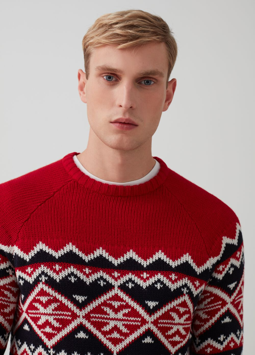 Knitted Christmas jumper with embroidery