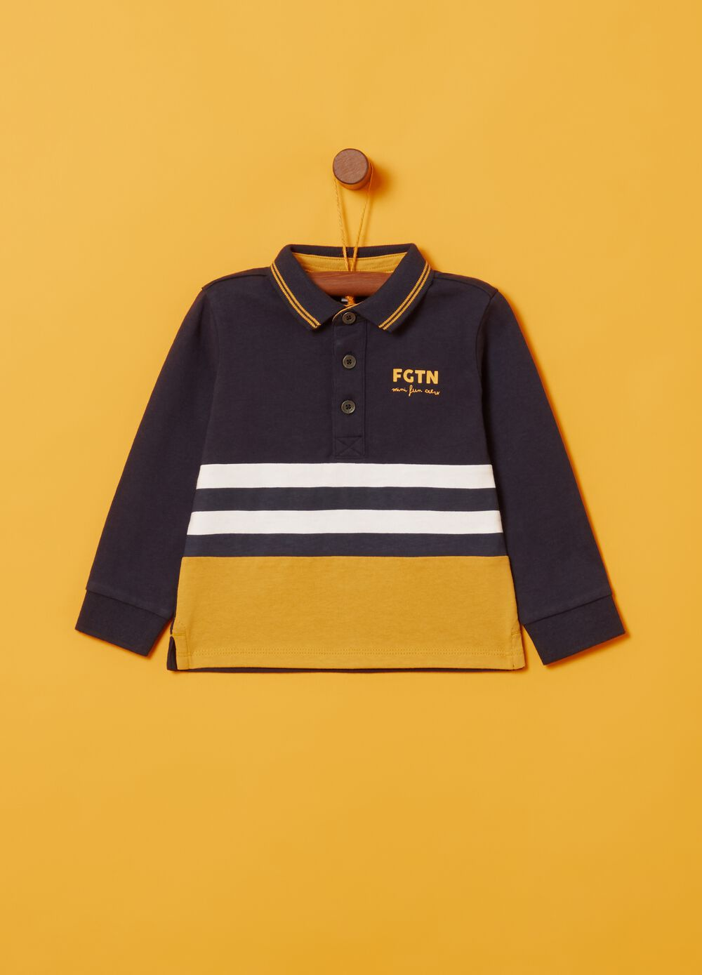 100% organic cotton polo shirt with striped print