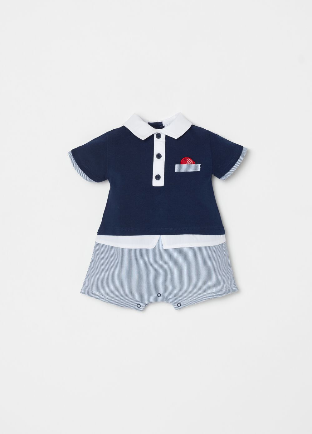 Short onesie in 100% organic cotton