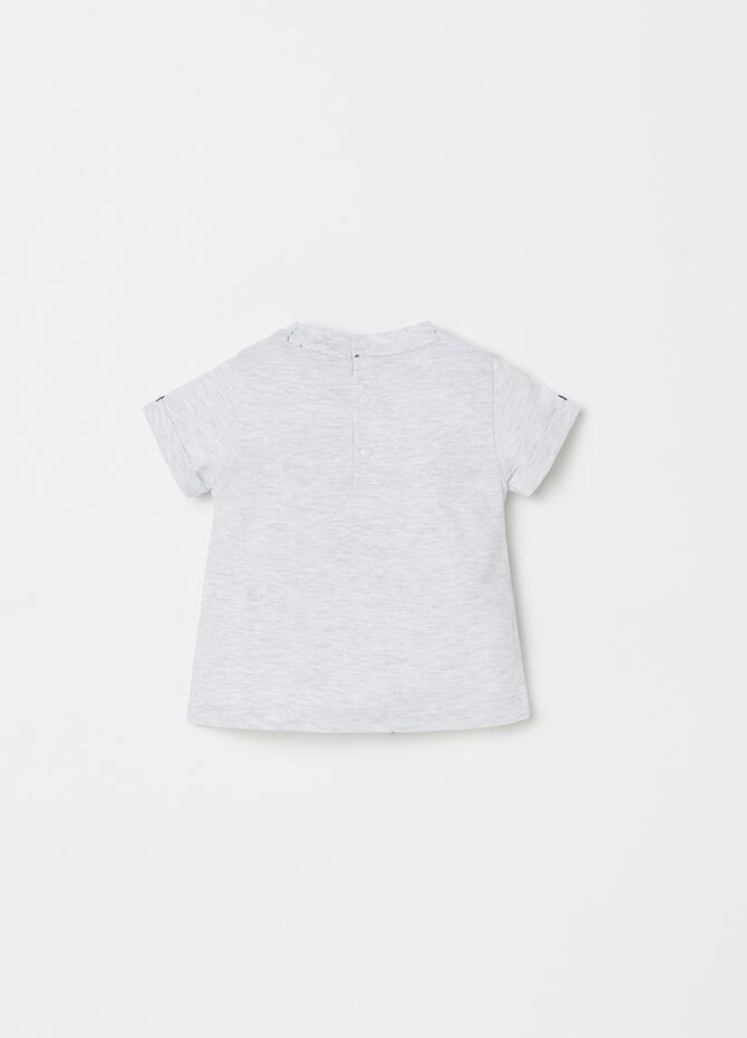 Mélange jersey T-shirt with print and buttons