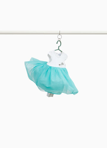 Cotton romper suit with tulle skirt
