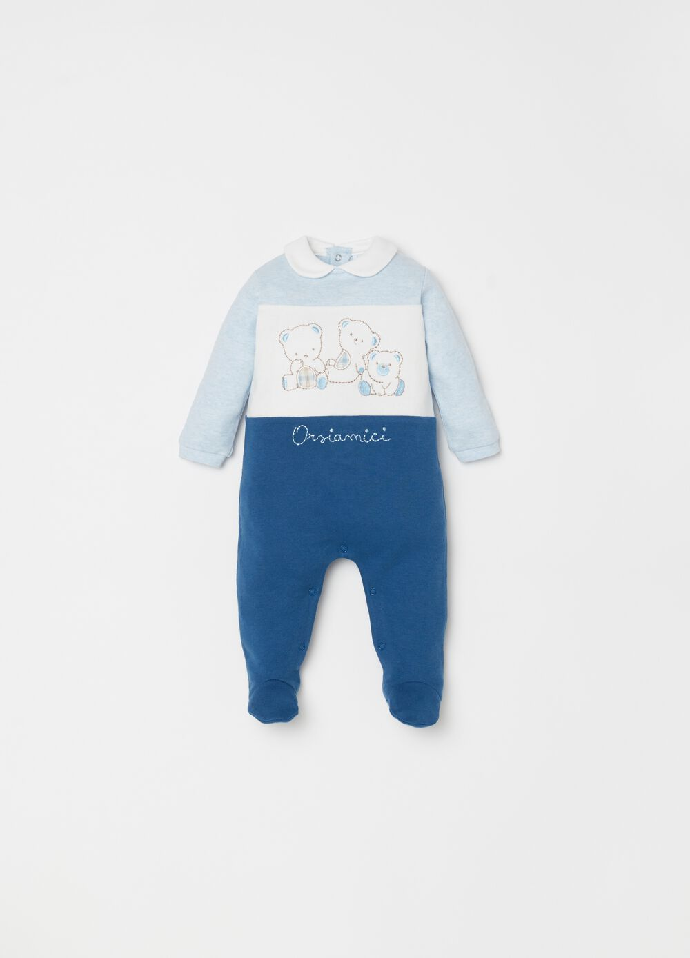 100% cotton onesie with feet and bear embroidery