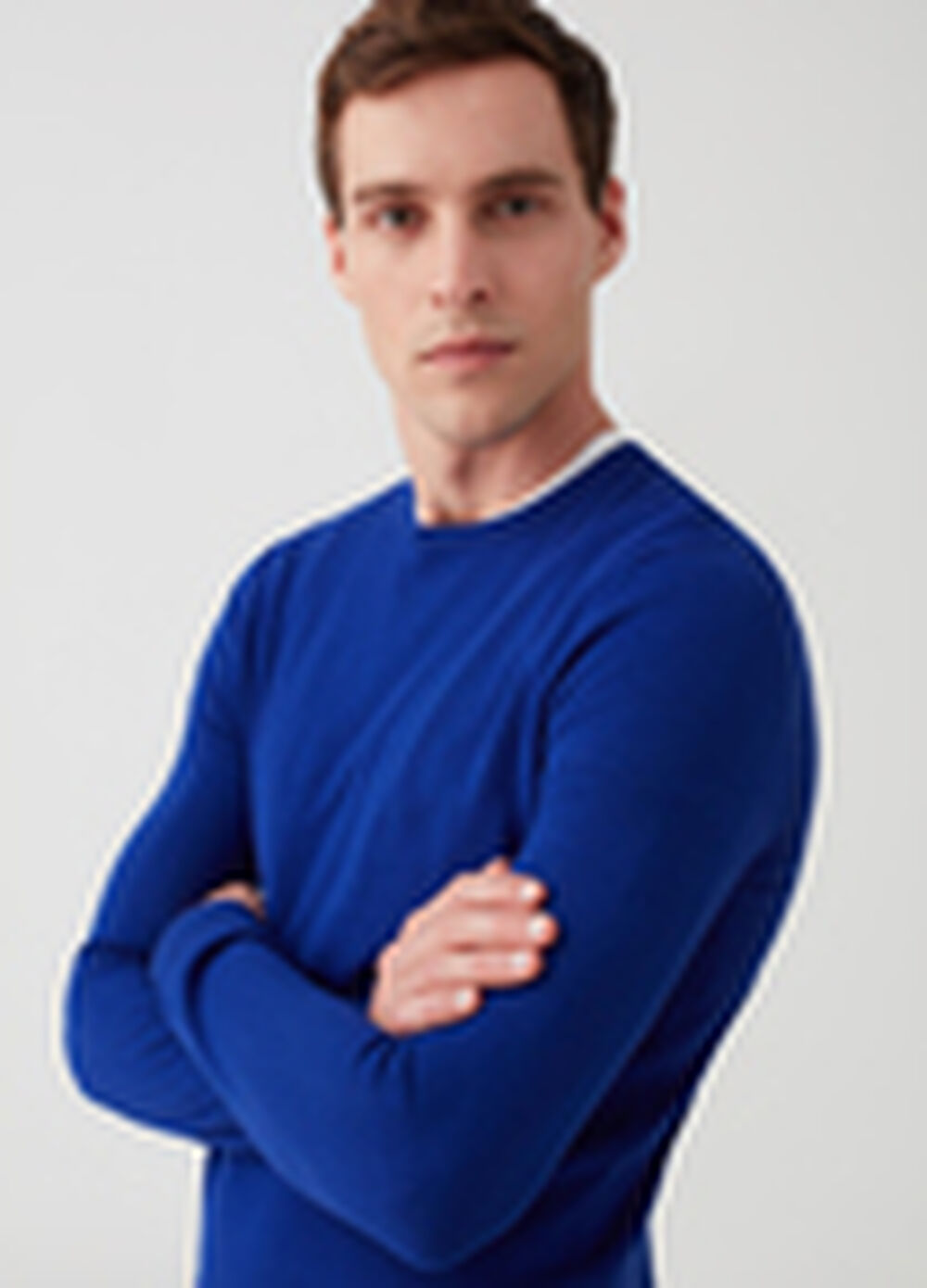 Solid colour pullover with round neck