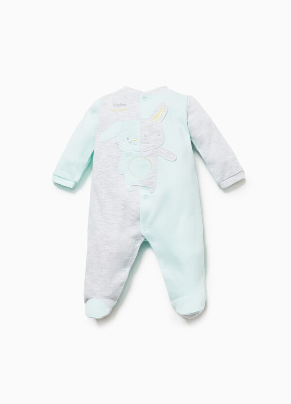 Two-tone onesie with rabbit patch