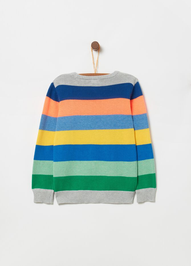 Knitted top with ribbing and striped pattern