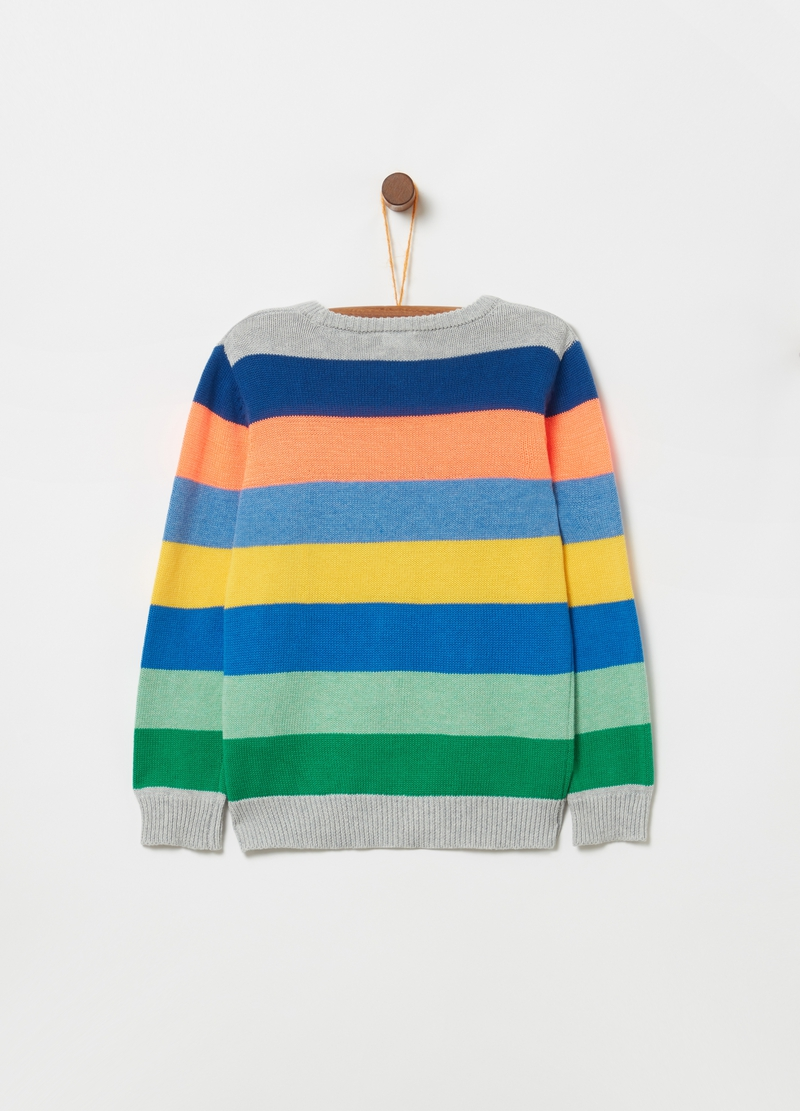 Knitted top with ribbing and striped pattern image number null