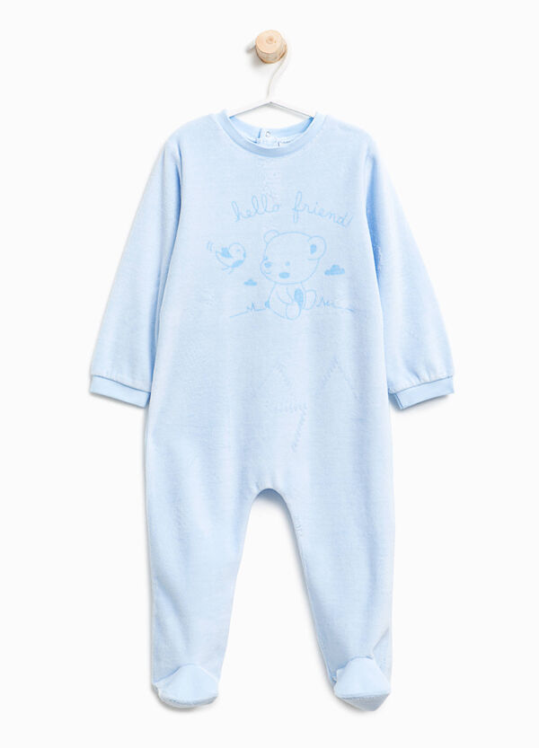 Cotton blend velour sleepsuit