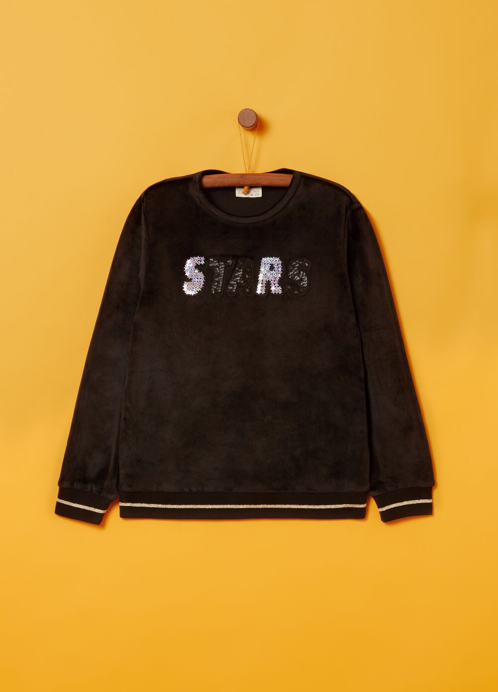 Sweatshirt with sequins, embroidery and glitter