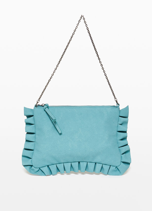 Clutch bag with ruches.