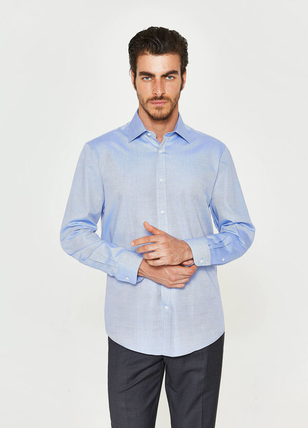 Regular-fit, cotton formal shirt with micro pattern