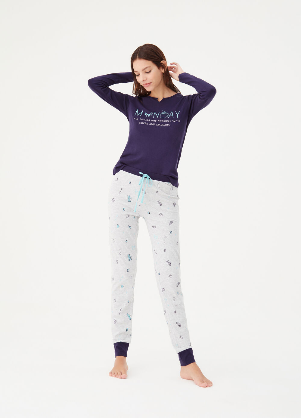Cotton pyjamas with teardrop neckline