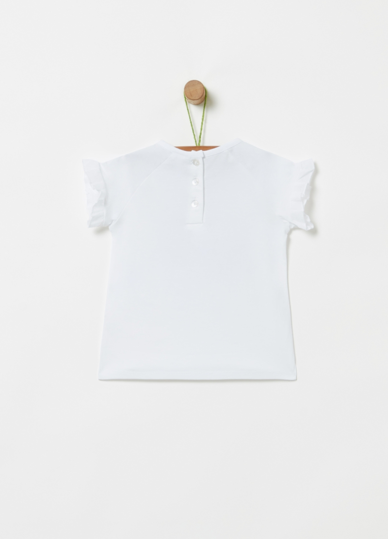 Organic cotton T-shirt with print and diamantés image number null