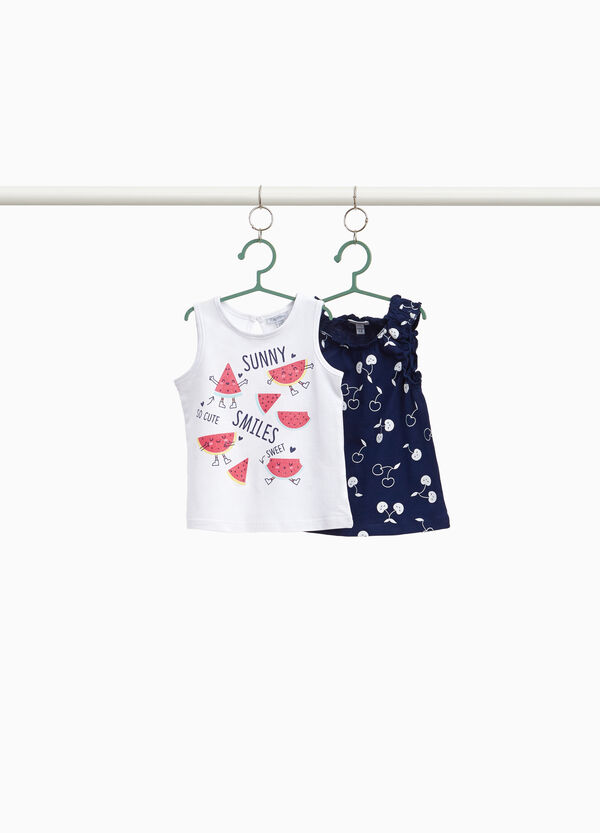 Two-pack printed and cherry cotton tops