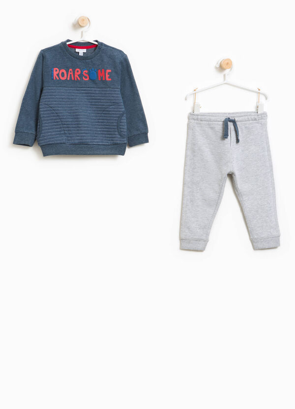 Tracksuit in cotton and viscose with print and stripes